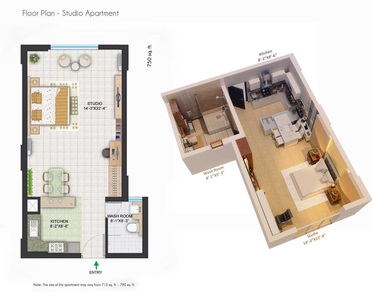 39 the room 39 central park 2 the room sector 48 sohna for Studio apartments plans
